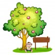 Stock Vector: Sad monkey under tree beside empty wooden board