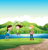 Three kids playing near the river — Stock Vector