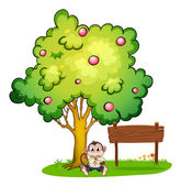 A sad monkey under the tree beside the empty wooden board — Stock Vector