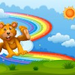 A sky with a bear playing near the rainbow — Stock Vector