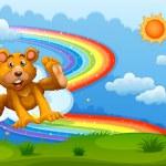 A sky with a bear playing near the rainbow — Stock Vector