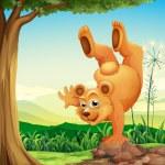 A bear doing a handstand near the tree — Stock Vector