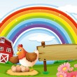 Stock Vector: A farm with a rainbow and an empty signboard