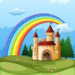 Stock Vector: Castle at hilltop with rainbow