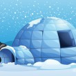 A penguin beside the igloo — Stock Vector #39025205