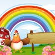 Stock Vector: A farm with an empty wooden board and a rainbow above