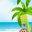 A beach with a monkey under the banana — Stock Vector