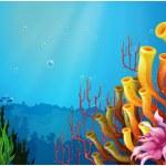 Corals under the sea — Stock Vector