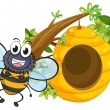 Stock Vector: A smiling bee beside its beehive
