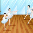 Four ballet dancers rehearsing — Stock Vector