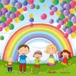 A happy family under the floating balloons with a rainbow — Stock Vector