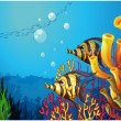 Stock Vector: A deep sea with beautiful coral reefs and fishes