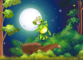 A smiling frog at the forest — Stock Vector