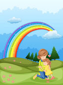A mother and a child hugging near the rainbow — Stock Vector