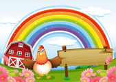 A farm with an empty wooden board and a rainbow above — Stock Vector