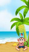 A beach with a monkey under the banana — Stock Vector