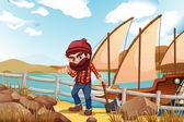 A lumberjack holding an axe near the sea — Stock Vector