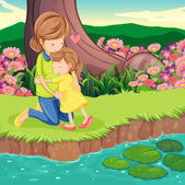 A mother hugging her daughter at the riverbank — Stock Vector