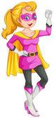 A female superhero with a cape — Stock Vector