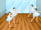 Four ballet dancers rehearsing — Stock Vector