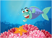 A starfish and a fish under the sea — Stock Vector