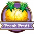 Постер, плакат: A fresh fruit label with pineapples