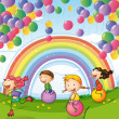 Kids playing with floating balloons and rainbow in the sky — Stock Vector