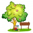 Stock Vector: A monkey sitting under the tree beside the empty wooden board