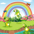 Stock Vector: Three playful frogs at pond and rainbow in sky