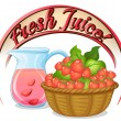 A fresh juice label with a basket of strawberries — Stock Vector