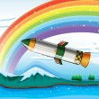 Stock Vector: A rainbow above the ocean and an aircraft