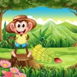 A smiling monkey at the forest standing above the stump — Stock Vector