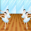 Ballet dancers rehearsing at the studio — Stock Vector