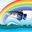 Vector de stock : A spaceship near the rainbow above the ocean