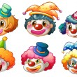 Different faces of a clown — Stock Vector