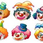 olika ansikten av en clown — Stockvektor  #39487607