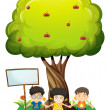 Kids under the tree beside the empty wooden board — Stock Vector
