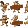 A group of beavers with empty wooden boards — Stock Vector
