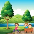 Boys playing at riverbank — Stock Vector #39487783
