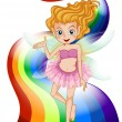 Stock Vector: A fairy standing at the rainbow