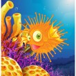 Orange puffer fish near coral reefs — Stock Vector #39487917