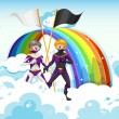 Superheroes in the sky near the rainbow — Stock Vector