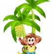 A very happy monkey near the banana plant — Stock Vector