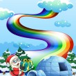 Santa Claus near the igloo and a rainbow in the sky — Stock Vector