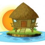 A nipa hut in an island — Stock Vector