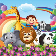 Stock Vector: A group of animals at the hilltop with a rainbow and balloons