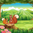 Squirrels at the forest — Stock Vector
