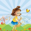 A young lady at the hilltop playing with her saxophone — Stock Vector