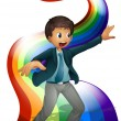 Stock Vector: Boy dancing above rainbow