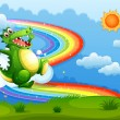 Stock Vector: Rainbow in sky with green crocodile